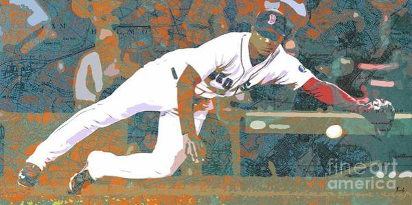 Usa Drawing - Boston Red Sox Player On Boston Harbor Map by Drawspots Illustrations