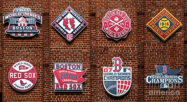 Mlb Photograph - Boston Red Sox World Series Emblems by Diane Diederich