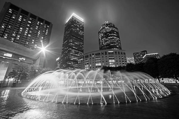 Photograph - Boston Reflecting Pool Fountain Boston Ma Black And White by Toby McGuire