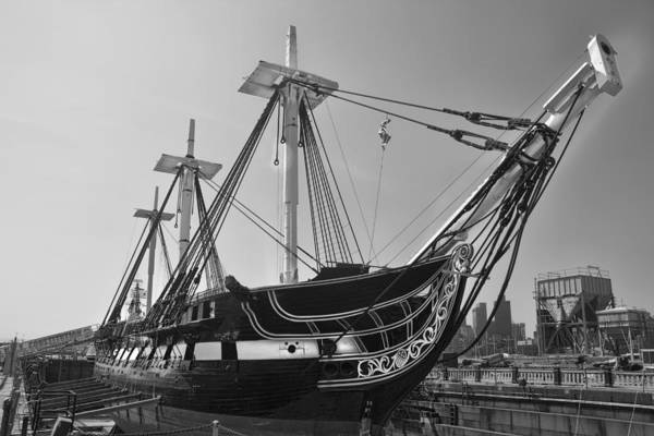 Photograph - U.s.s. Constitution Bw - Boston Series 11 by Carlos Diaz