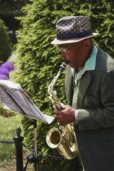 Photograph - Saxophone Player - Boston Series 20 by Carlos Diaz