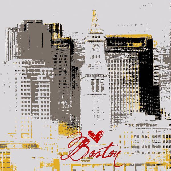 Town Square Digital Art - Boston Skyline 2 by Brandi Fitzgerald
