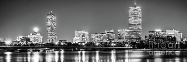 Harvard University Photograph - Boston Skyline At Night Black And White Panorama Picture by Paul Velgos