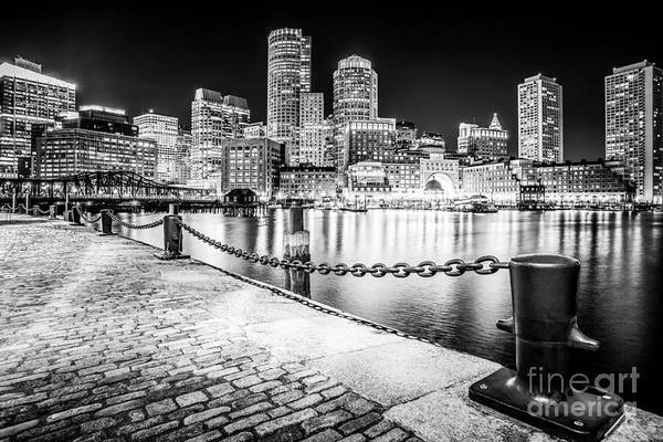 Wall Art - Photograph - Boston Skyline At Night Black And White Picture by Paul Velgos