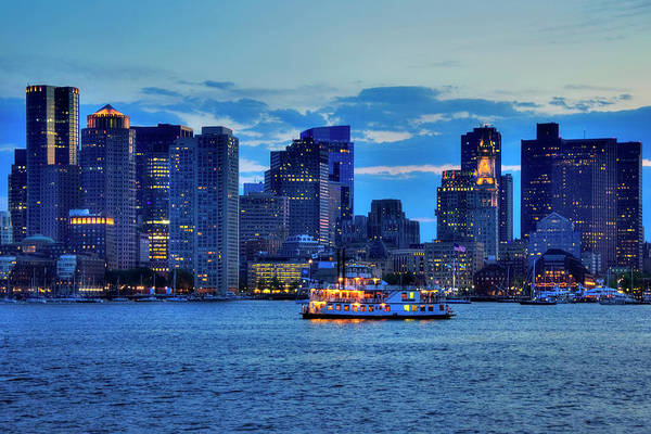 Photograph - Boston Skyline At Night - Boston Harbor by Joann Vitali