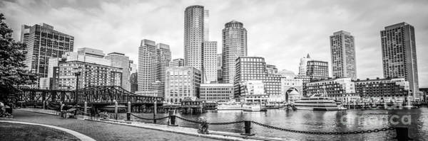 Chain Bridge Photograph - Boston Skyline Black And White Panoramic Picture by Paul Velgos