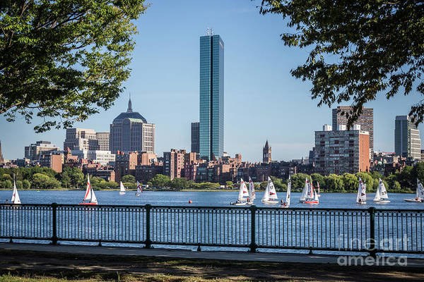 Hancock Tower Photograph - Boston Skyline Charles River Sailboats Photo by Paul Velgos