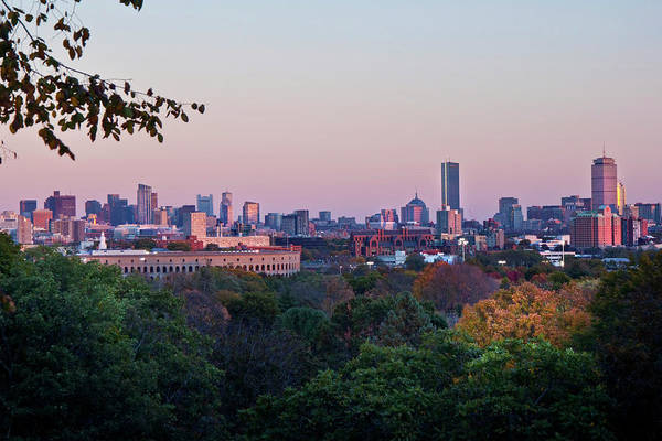 Photograph - Boston Skyline From Mount Auburn Cemetery  by Joann Vitali