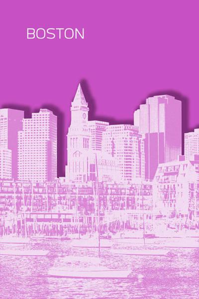 Boston North End Wall Art - Digital Art - Boston Skyline - Graphic Art - Pink by Melanie Viola