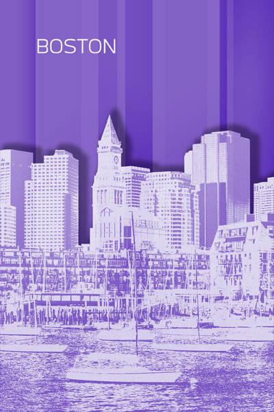 Boston North End Wall Art - Digital Art - Boston Skyline - Graphic Art - Purple by Melanie Viola