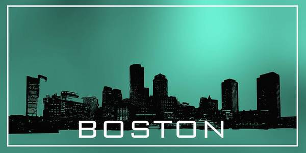 Digital Art - Boston Skyline In Turqoise by Alberto RuiZ