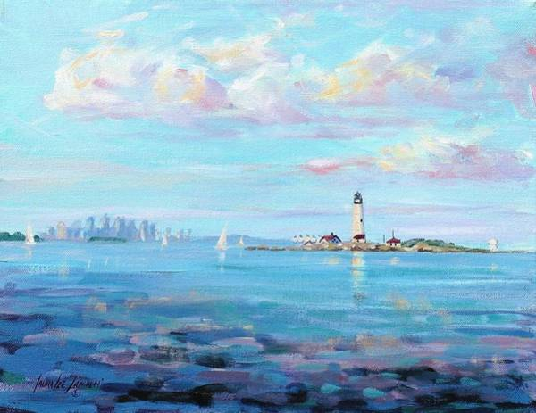 Lighthouse Painting - Boston Skyline by Laura Lee Zanghetti