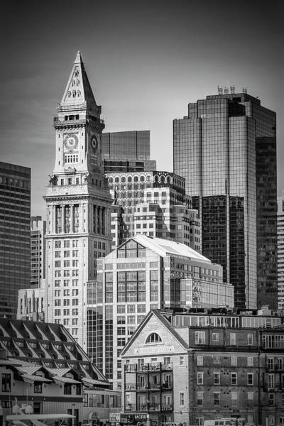 Wall Art - Photograph - Boston Skyline North End And Financial District - Monochrom by Melanie Viola