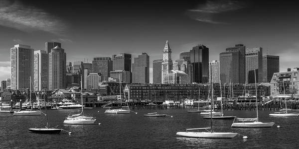 Wall Art - Photograph - Boston Skyline North End And Financial - Monochrome Panorama by Melanie Viola