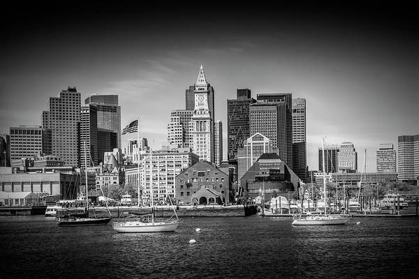 Wall Art - Photograph - Boston Skyline North End - Monochrome by Melanie Viola