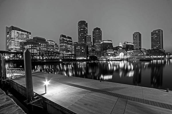 Photograph - Boston Skyline Pier Reflection Boston Ma Black And White by Toby McGuire