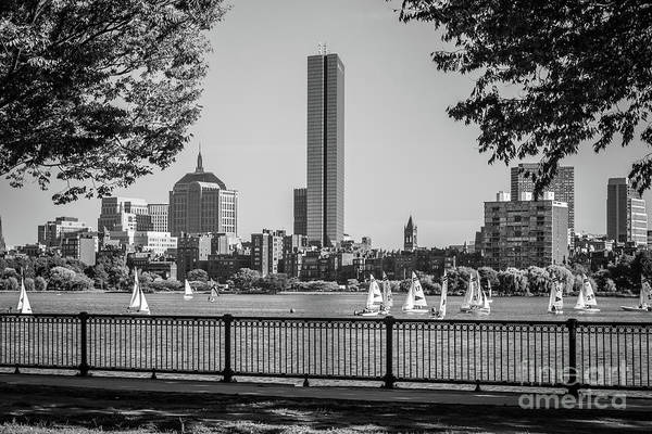 Hancock Tower Photograph - Boston Skyline Sailboats Black And White Photo by Paul Velgos