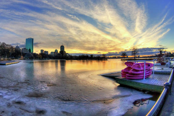 Photograph - Boston Skyline Sunset And A Frozen Charles River by Joann Vitali