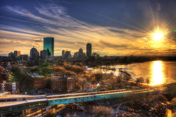 Photograph - Boston Skyline Sunset And The Redline by Joann Vitali