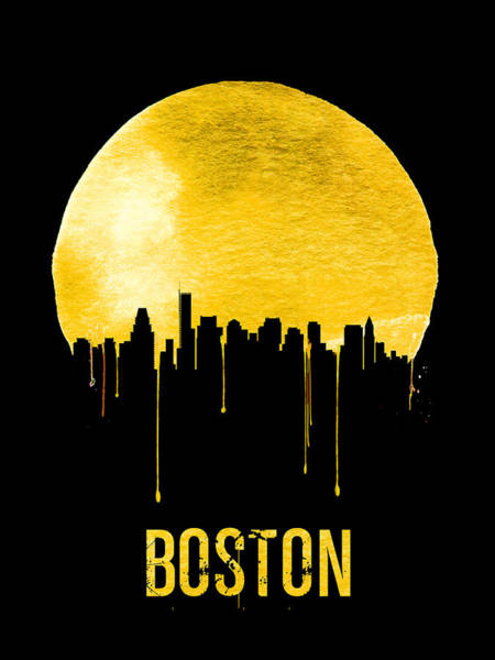 Wall Art - Painting - Boston Skyline Yellow by Naxart Studio