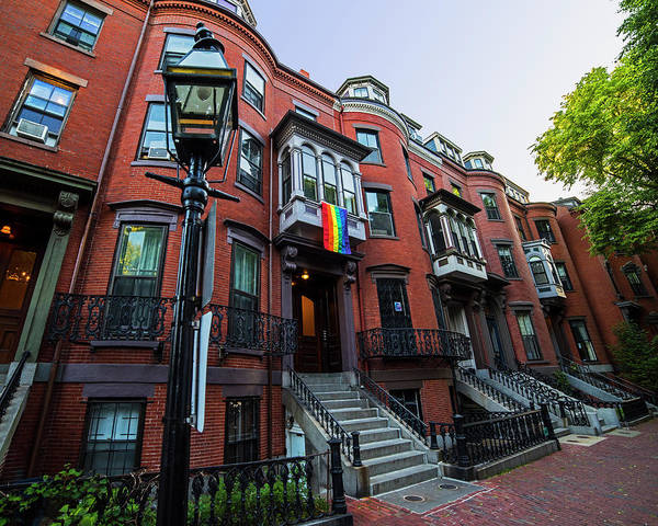 Gay Pride Flag Photograph - Boston South End Gay Pride Flag Boston Ma Brownstones by Toby McGuire
