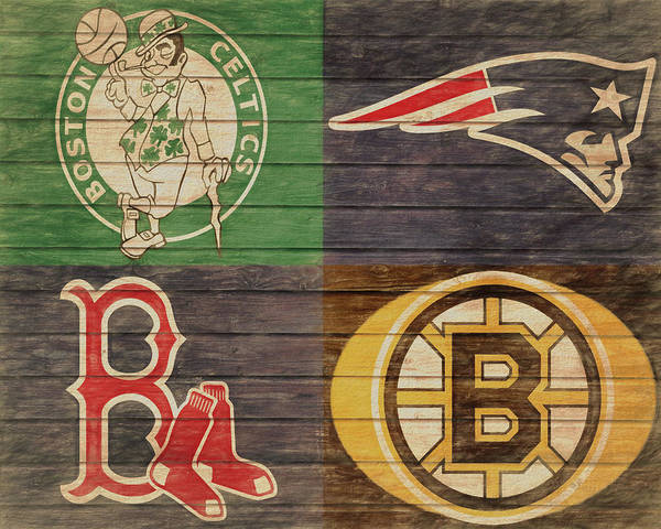 Man Cave Wall Art - Mixed Media - Boston Sports Teams Barn Door by Dan Sproul