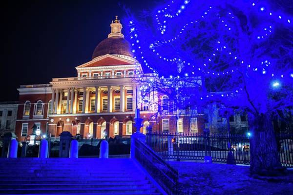 Photograph - Boston Statehouse With Blue Christmas Lights by Toby McGuire