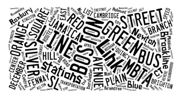 Town Square Digital Art - Boston Subway Or T Stops Word Cloud by Edward Fielding