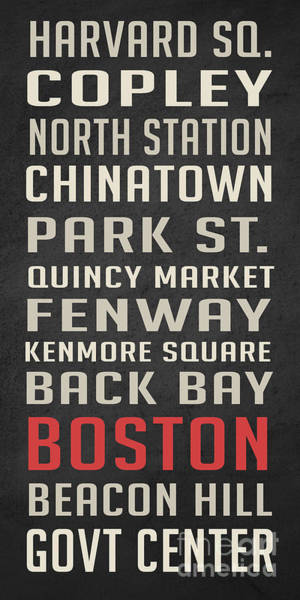 Government Digital Art - Boston Subway Stops Poster by Edward Fielding