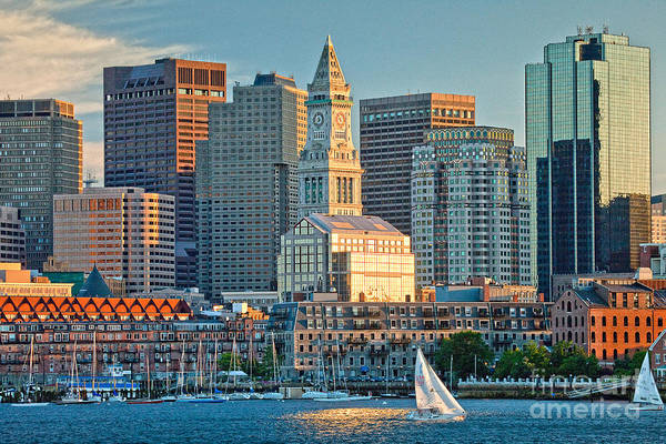 End Of Summer Photograph - Boston Sunset Sail by Susan Cole Kelly