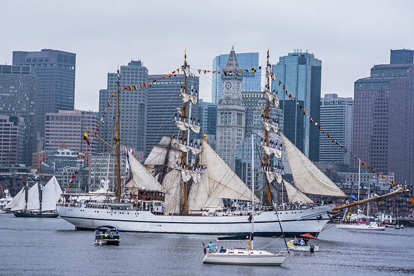Photograph - Boston Tall Ship Balancing Act Boston Ma Custom House Boston Skyline by Toby McGuire