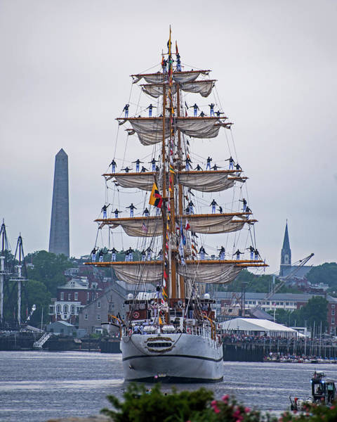 Photograph - Boston Tall Ship Balancing Act Boston Ma Lenny Zakim Monument by Toby McGuire