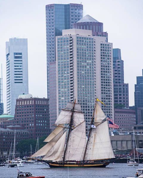 Photograph - Boston Tall Ship Beautiful Sails Boston Ma Harbor Towers by Toby McGuire