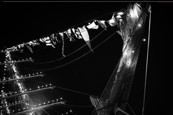 Photograph - Boston Tall Ship Flags Boston Ma Black And White by Toby McGuire