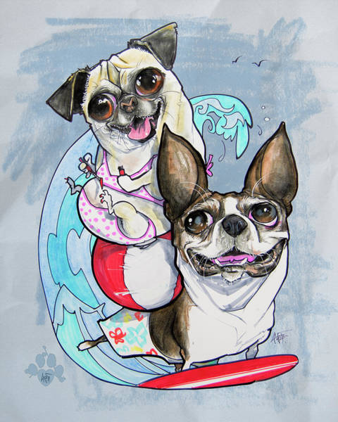 Pet Portrait Drawing - Boston Terrier And Pug - Surf's Up by John LaFree