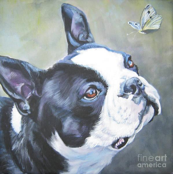 Terrier Painting - boston Terrier butterfly by Lee Ann Shepard