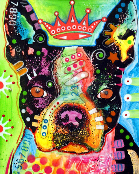 Massachusetts Painting - Boston Terrier Crowned by Dean Russo Art