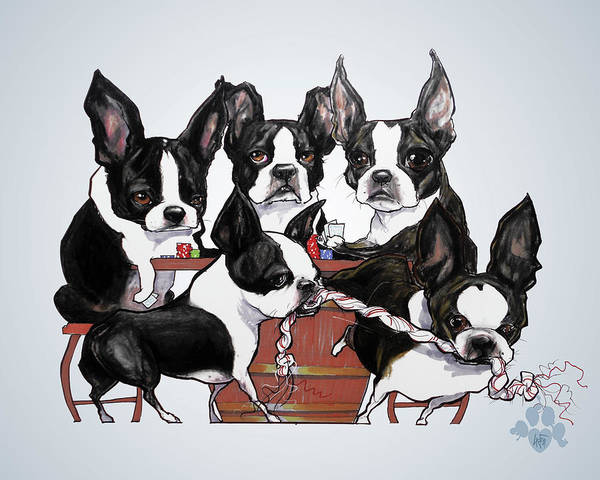 Wall Art - Drawing - Boston Terrier - Dogs Playing Poker by John LaFree