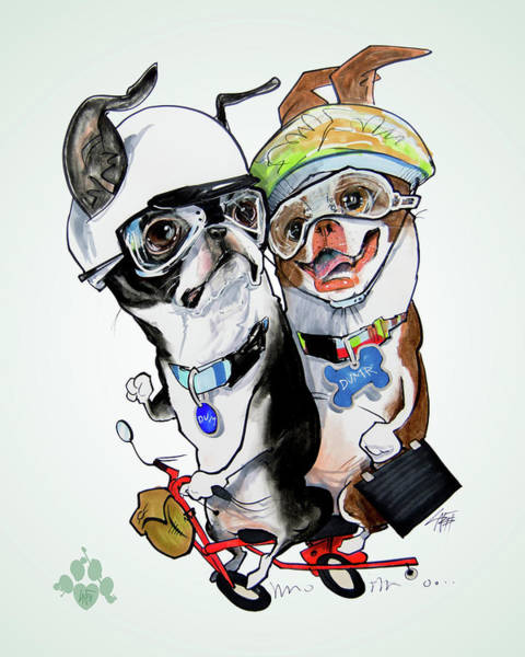 Pet Portrait Drawing - Boston Terriers - Dumb And Dumber by John LaFree