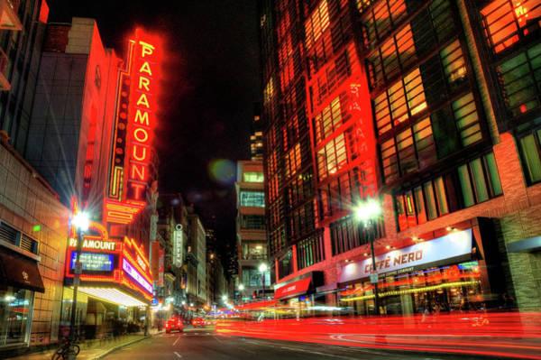 Photograph - Boston Theatre District At Night by Joann Vitali