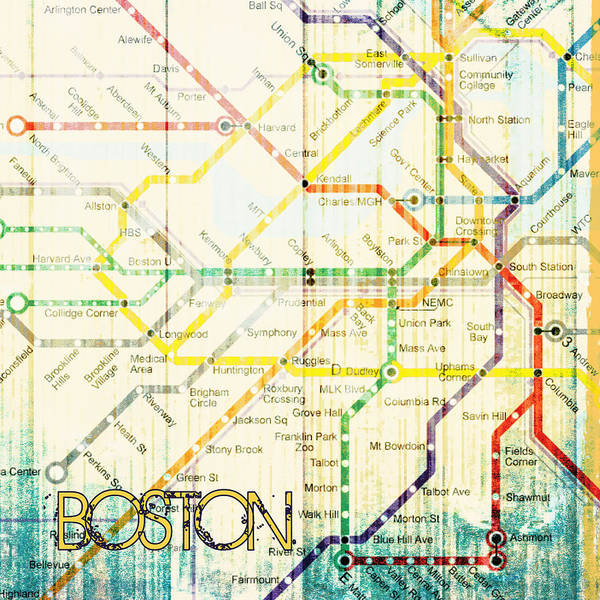 Wall Art - Digital Art - Boston Transit The T V4 by Brandi Fitzgerald