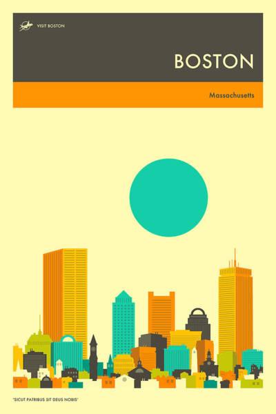 Boston Skyline Wall Art - Digital Art - Boston Travel Poster by Jazzberry Blue