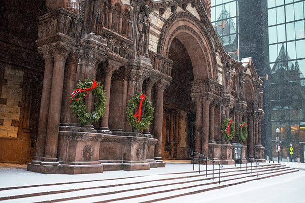 Photograph - Boston Trinity Church Christmas Wreaths Boston Ma Hancock Reflection by Toby McGuire