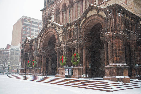 Photograph - Boston Trinity Church Christmas Wreaths Boston Ma by Toby McGuire