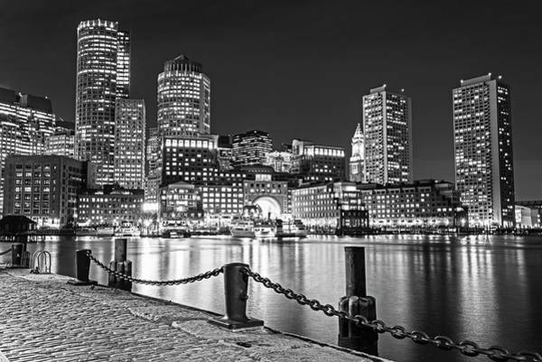 Photograph - Boston Waterfront Boston Skyline Boston Ma Harbor Towers Black And White by Toby McGuire