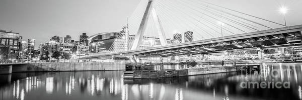 Wall Art - Photograph - Boston Zakim Bridge Black And White Panorama Photo by Paul Velgos