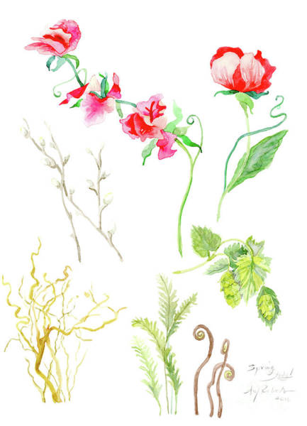 Wall Art - Painting - Botanical Nature - Spring Study 1 by Audrey Jeanne Roberts