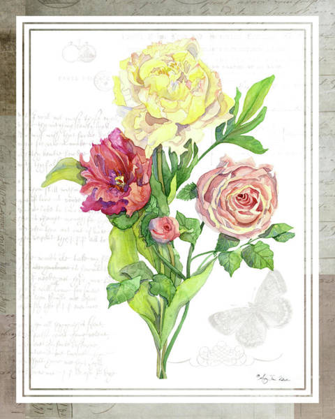 Wall Art - Painting - Botanical Vintage Style Watercolor Floral 3 - Peony Tulip And Rose With Butterfly by Audrey Jeanne Roberts