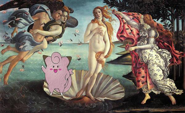 Pokemon Wall Art - Digital Art - Botticellimon Birth Of Venus by Greg Sharpe
