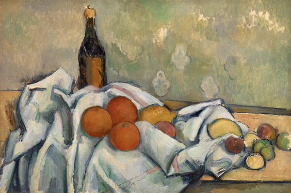 Apple Peel Wall Art - Painting - Bottle And Fruits by Paul Cezanne